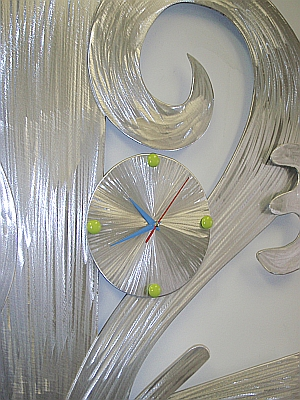 over sized clock in brushed aluminum, clock,