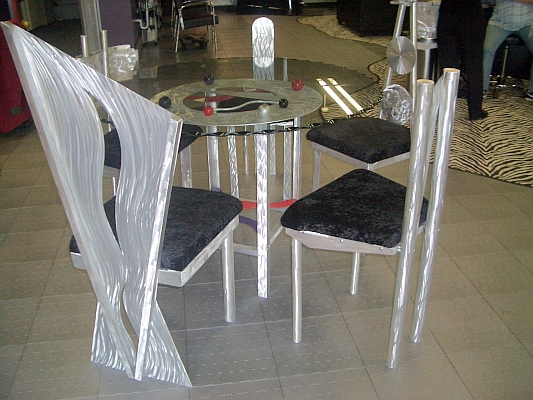 dining table with aluminum