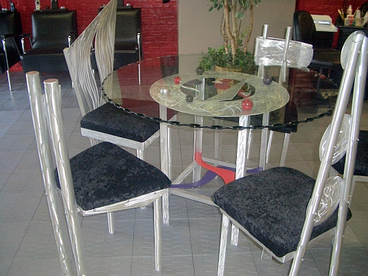 glass dining table with aluminum and modern design